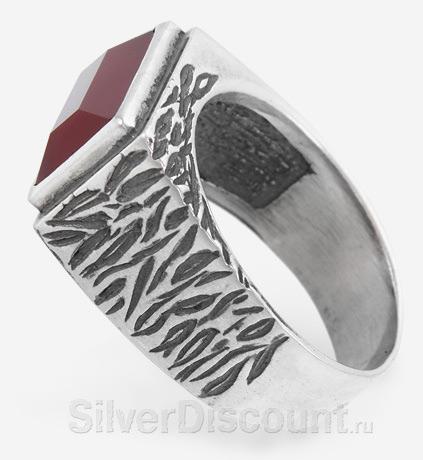 Мужская серебряная печатка с красным агатом