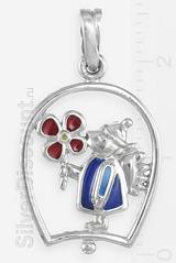 Кулон в виде ангела с цветком, серебро, эмаль