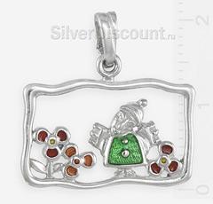 Маленький серебряный ангел на цветочной поляне, подвеска