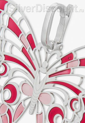Бабочка из серебра с красной и розовой эмалью