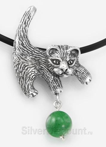 Кулон в виде котенка с мячиком, серебро 925