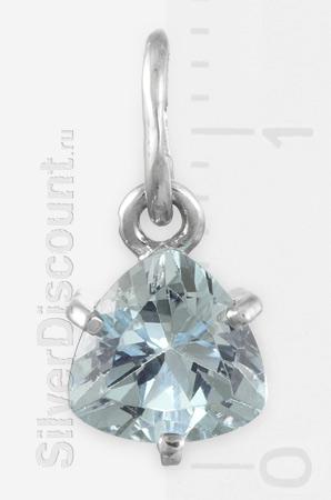 Треугольный топаз в серебре, недорогая подвеска