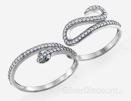 Кольцо двойное (на два пальца), змейка, серебро, фианиты