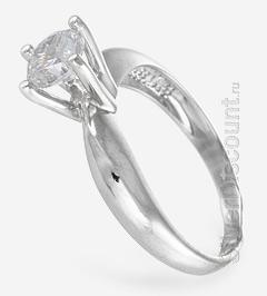 Кольцо с высокими крапанами и прозрачным фианитом бриллиантовой огранки