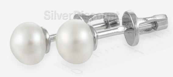 Серьги с жемчугом, серебро родированное, винтовой замок