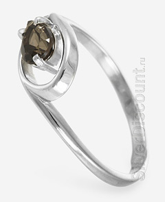Родированное кольцо из гарнитура с раухтопазами, вид сбоку