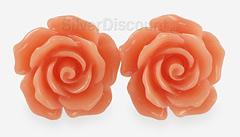 Яркие серьги с цветками розы, серебро, оранжевый коралл