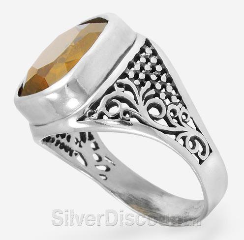 Перстень серебро с крупным цитрином