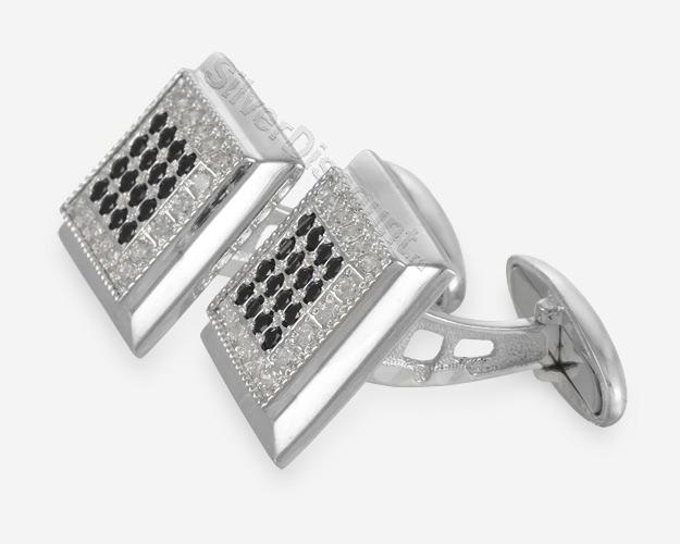 Красивые мужские запонки из серебра с фианитами, вид сбоку