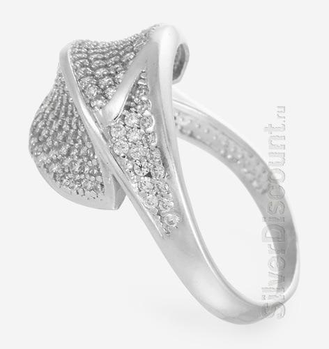 Кольцо в фианитовой обсыпке, серебро, вид сбоку