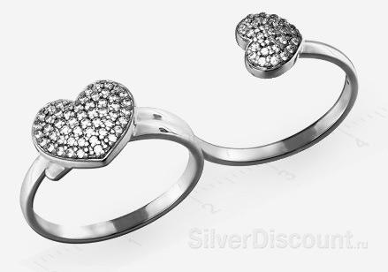 Двойное кольцо из серебра с сердечками