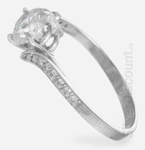 Кольцо серебряное радированное с фианитом, вид сбоку