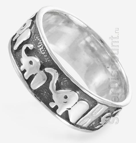 Кольцо из серебра с восьмью слониками