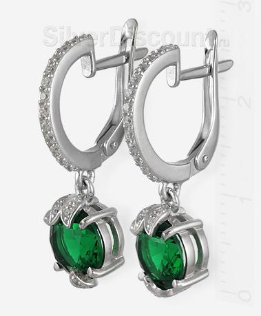 Серебряные серьги с насыщенно-зелеными вставками