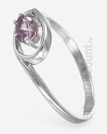 Женское кольцо с натуральным аметистом, вид сбоку