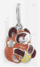 Винни Пух из серебра 925 пробы с эмалью