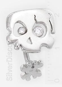 Пирсинг пупка - черепушка, серебро, фианиты