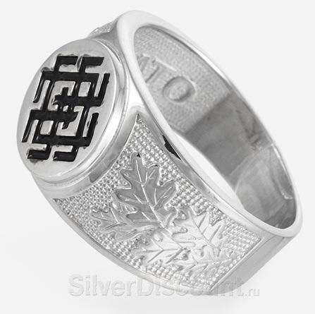 Мужская печатка из серебра Белобог, вид сбоку