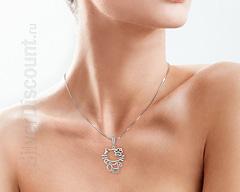 Серебряная подвеска Hello Kitti, фото на цепочке