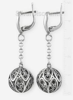 Серьги из серебра с большими шарами на цепочках
