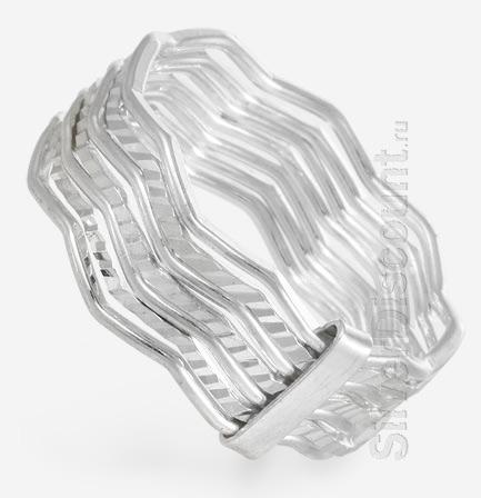 Кольцо 7 в 1 (неделька) из серебра, вид сбоку