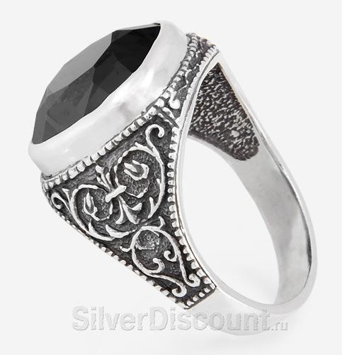 Перстень мужской с огранёным черным агатом, серебро, вид сбоку