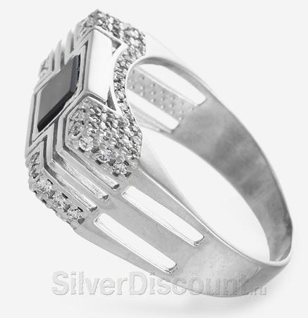 Мужская печатка из серебра с фианитами, вид сбоку