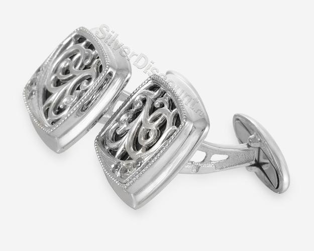 Изящные серебряные запонки с фианитами, вид сбоку