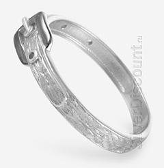 Стильное кольцо с ремнем и пряжкой, родированное серебро, вид сбоку