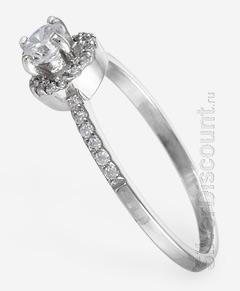 Радированое серебрянное кольцо-перстень с фианитами