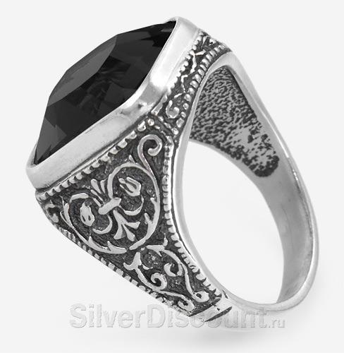 Мужское серебряное кольцо с черным квадратным камнем