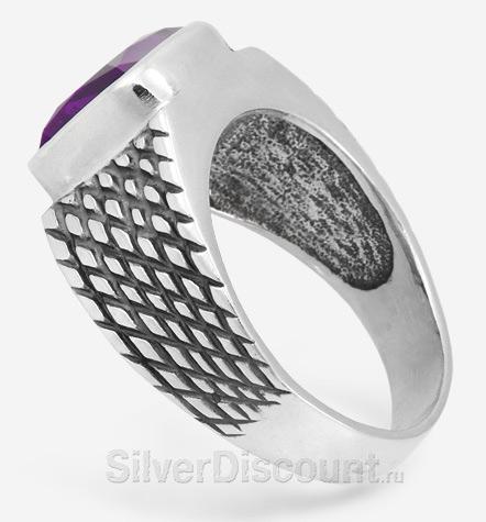 Мужские серебряные украшения с аметистами, кольцо, вид сбоку