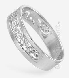 Серебряное обручальное кольцо с филигранью, вид сбоку