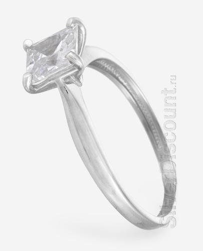 Перстень из серебра с классическими формами и фианитом