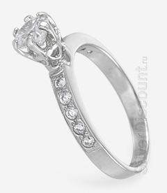Недорогое кольцо из серебра для помолвки, вид сбоку