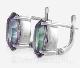 Радированные серебряные серьги с кварцем-мистиком
