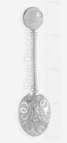 Ложка загребушка, серебро, родирование, вид с обратной стороны