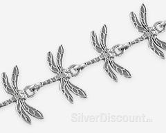 Серебряный браслет со стрекозами, фото крупным планом