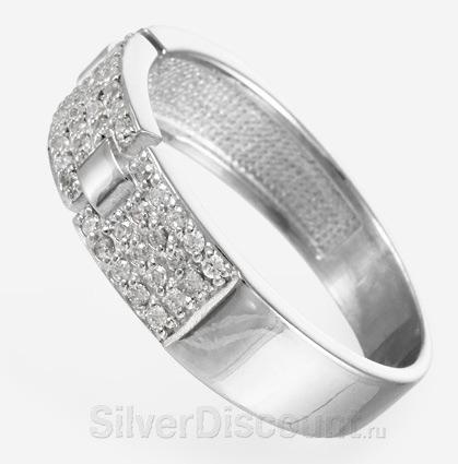 Кольцо из серебра, усыпанное камнями