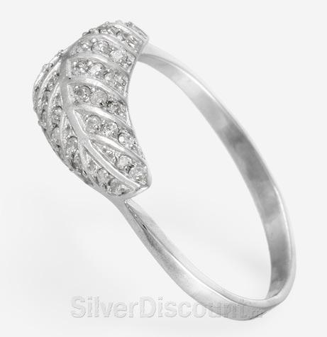 Кольцо с серебряными листочком и фианитами, вид сбоку