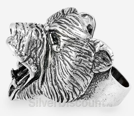 Серебряное кольцо с медведем - гризли
