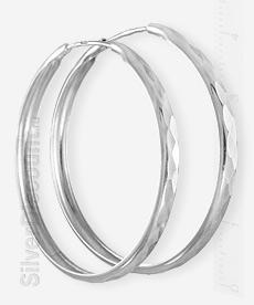 Серьги конго 4 см, серебро, алмазные грани, вид сбоку