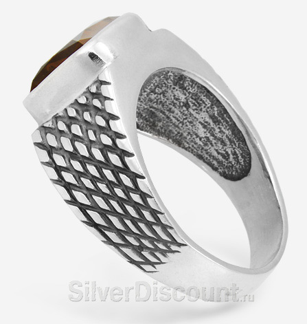 Кольцо мужское из серебра с натуральным камнем 1см