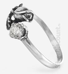 Серебряное кольцо в виде цветка тюльпана, вид сбоку