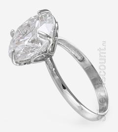 Серебряные украшения: женское кольцо 925-й пробы с крупным фианитом, вид сбоку