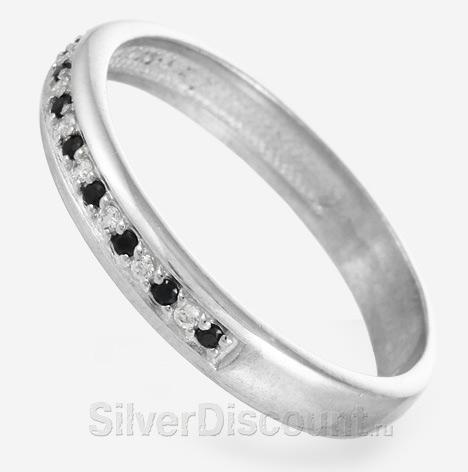 Кольцо из серебра с 21 камнем: черные и белые