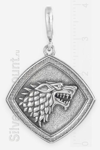 Кулон с головой волка, символика Игра престолов, серебро