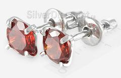 Родированные пусеты с ярко-красным камнем-вставкой