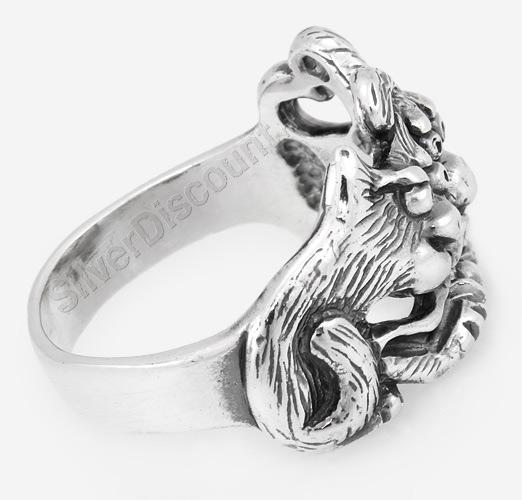 Кольцо с собакой и кошкой, серебро, вид сбоку
