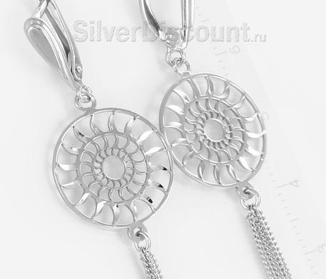 Серебряные серьги-кисточки с солнцами
